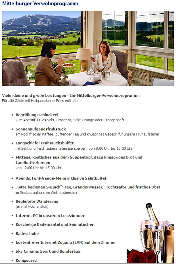 Verwöhnprogramm Die Mittelburg Vitalhotel D-87466 Oy-Mittelberg