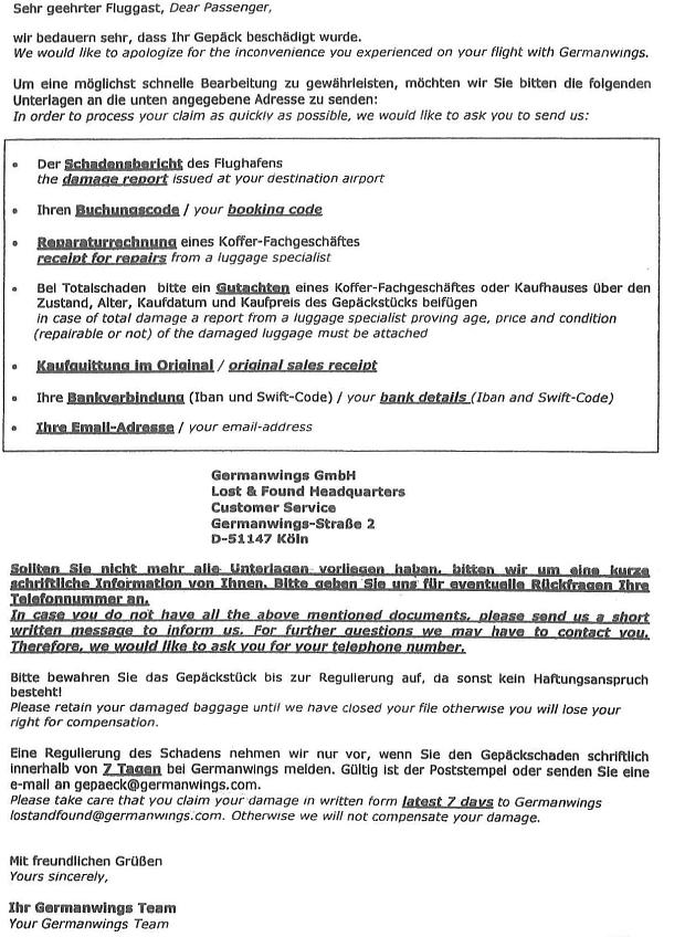 Germanwings Schadens Merkblatt