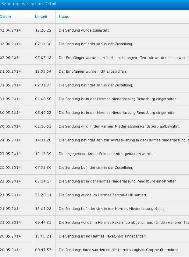 Screen Shot Hermes Sendungsverlauf 01140135831953