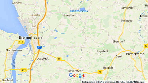 Google Karte 2016 Bad Bederkesa © Copyright by Google Maps google.de