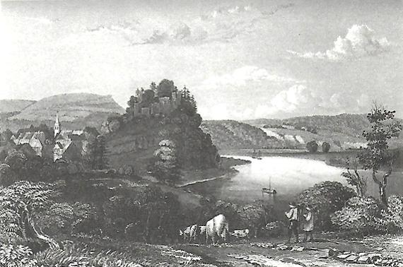 Burgromantik bei Polle über der Weser von 1285