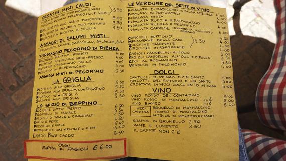 Traditionelle Küche der Toskana in der Osteria Sette di Vino Pienza © Copyright Karl-Heinz Hänel